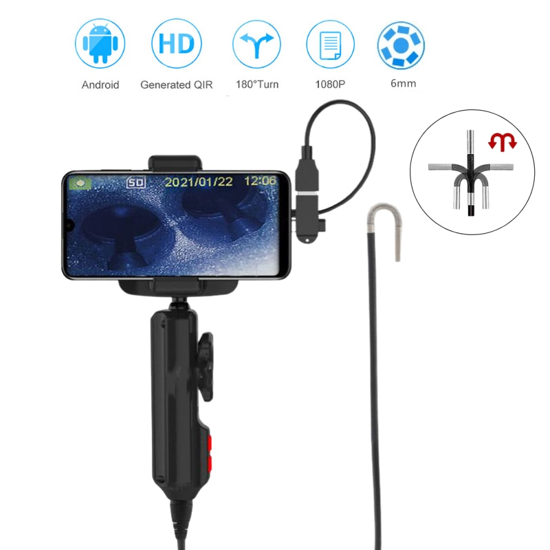 New 6mm Steering Endoscope Camera Photo Taking Video Recording Industrial Steerable Borescope with 1m Snake Tube 2 in 1 Adapter