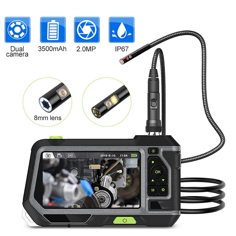 NTS500 Single & Dual Lens Industrial Endoscope 5 Inch 1080P HD LCD Screen IP67 Waterproof Borescope Inspection Camera with 6 LED