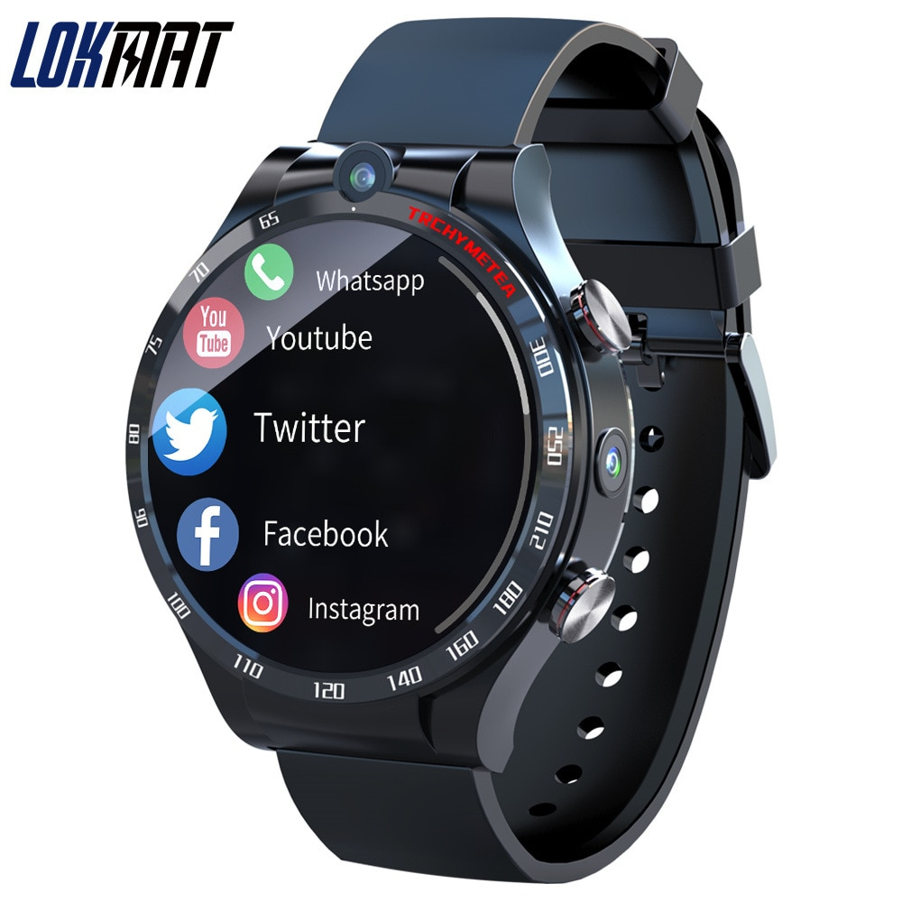 LOKMAT - Android 10.7 Smart Watch Men Women 4G Full Netcom 4+128G Heart Rate Monitoring Waterproof Phone Call For Android IOS