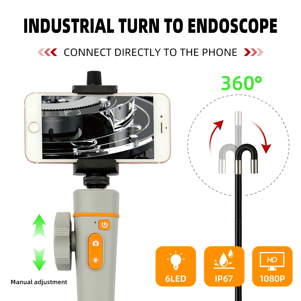 8MM 1080P WIFI 360° Steering Industrial Video Endoscope Camera Wireless Car Sewer Drain Inspection Borescope for Android Iphone