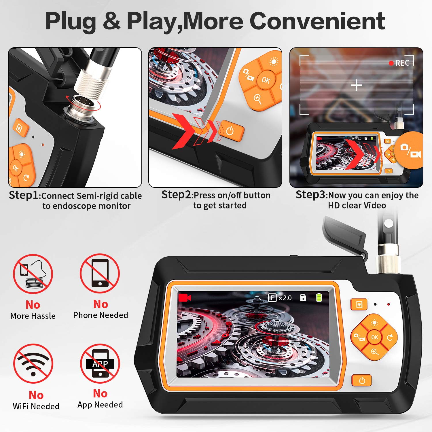Borescope Camera 1080P 4.5/5.5mm Dual Lens with 4.3'' IPS Screen Wide Viewing Angle Video Snake Inspection Camera With 32GB Card