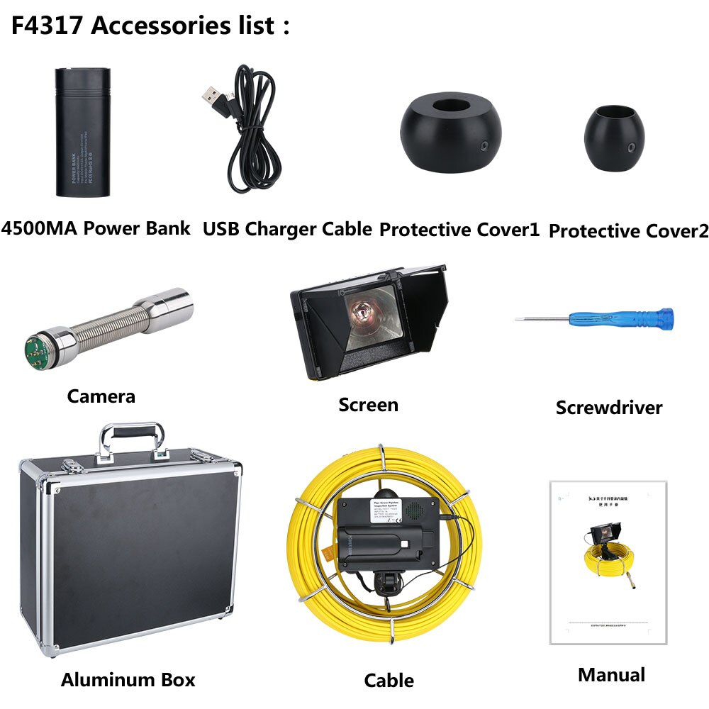 20M 4.3 inch 17mm  Handheld Industrial Pipe Sewer Inspection Video Camera  IP68 Waterproof Drain Pipe Sewer Inspection Camera Sy