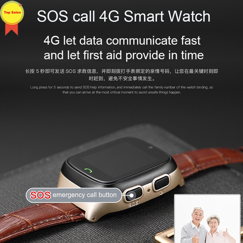 New HD touch screen Elder Smart watch old man Heart Rate bp Watch GPS Track Watch Voice chat SOS Fall-down Alarm remote monitor