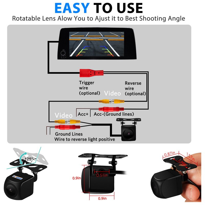 XYCING 170 Degree Auto Rear View Camera Car Back Reverse Camera Night Vision HD Parking Assistance Camera
