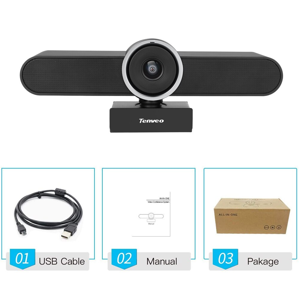 [EU Stock] FHD 1080p 30Fps USB PC Webcam with Mic and Speaker Web Camera for Living Streaming Video Calling 124° Fov
