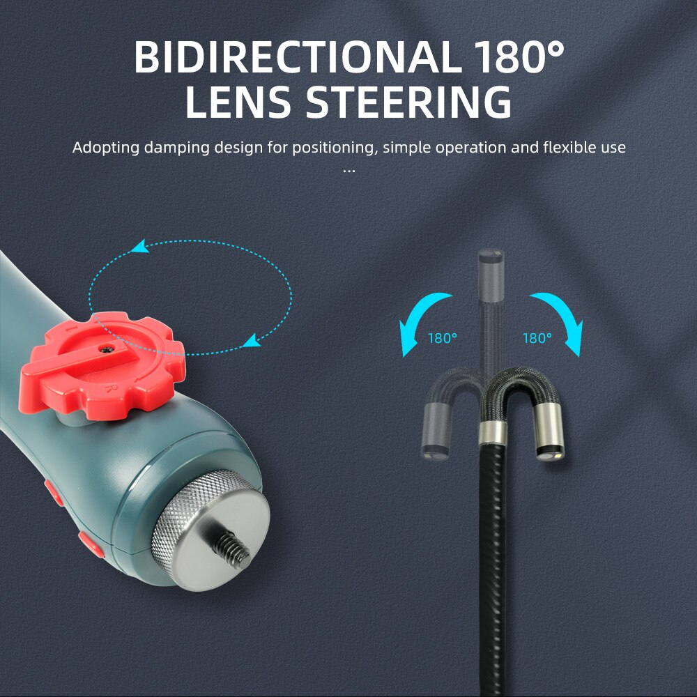 6MM/8.5MM 5.0MP 180 Degree Steering Industrial Borescope Endoscope Cars Inspection Camera With 6 LED for iPhone Android