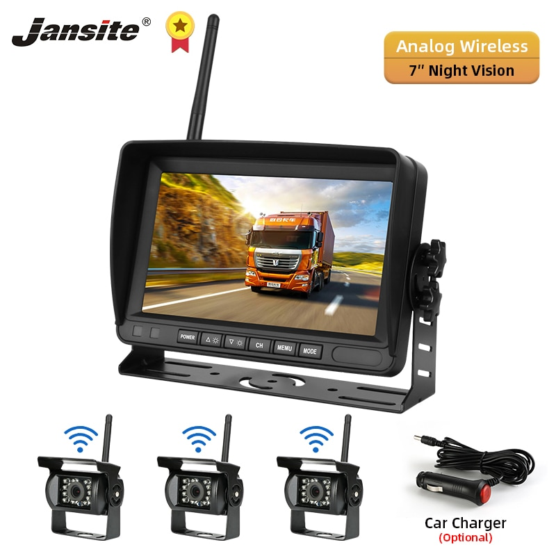 Jansite 7 inch Wireless Car Reverse reversing Rear View Backup Parking Camera with Monitor for Truck Car SUV RV Night Vision